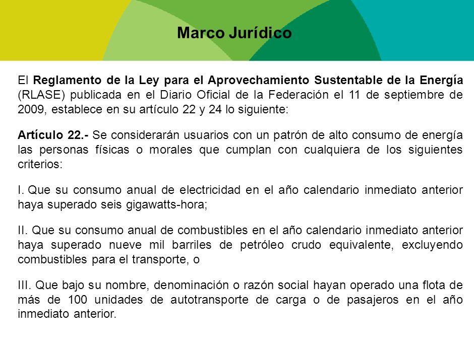 Marco Jurídico El Reglamento de la Ley para el Aprovechamiento Sustentable de la Energía (RLASE) publicada en el Diario Oficial de la Federación el 11