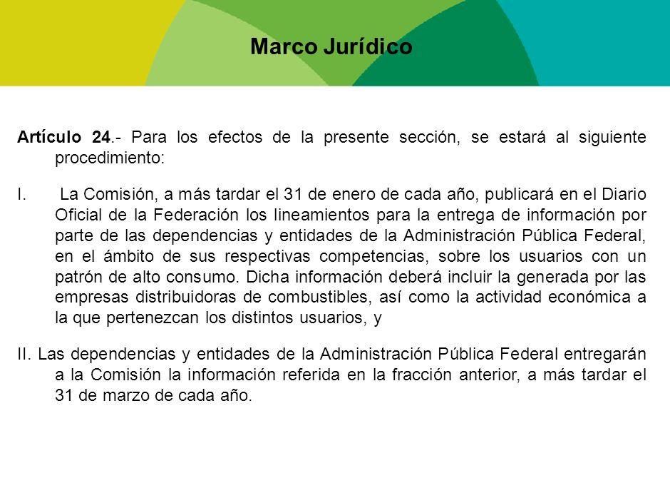Marco Jurídico Artículo 24.- Para los efectos de la presente sección, se estará al siguiente procedimiento: I. La Comisión, a más tardar el 31 de ener