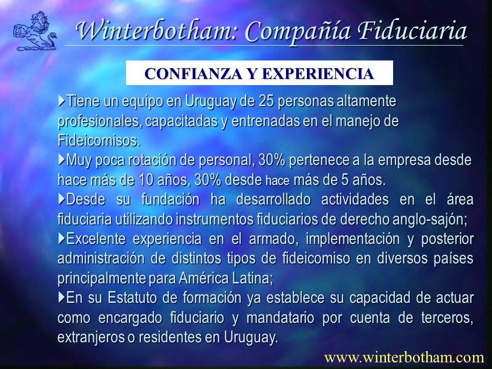 Winterbotham: Compañía Fiduciaria www.winterbotham.com Tiene un equipo en Uruguay de 25 personas altamente profesionales, capacitadas y entrenadas en el manejo de Fideicomisos.