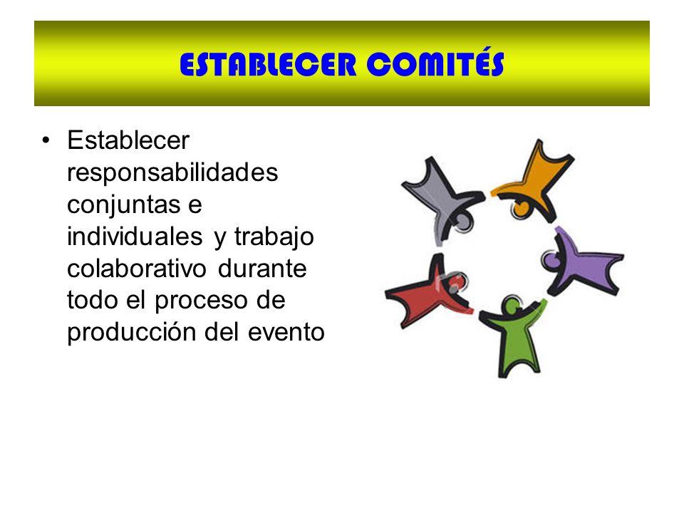 ESTABLECER COMITÉS Establecer responsabilidades conjuntas e individuales y trabajo colaborativo durante todo el proceso de producción del evento