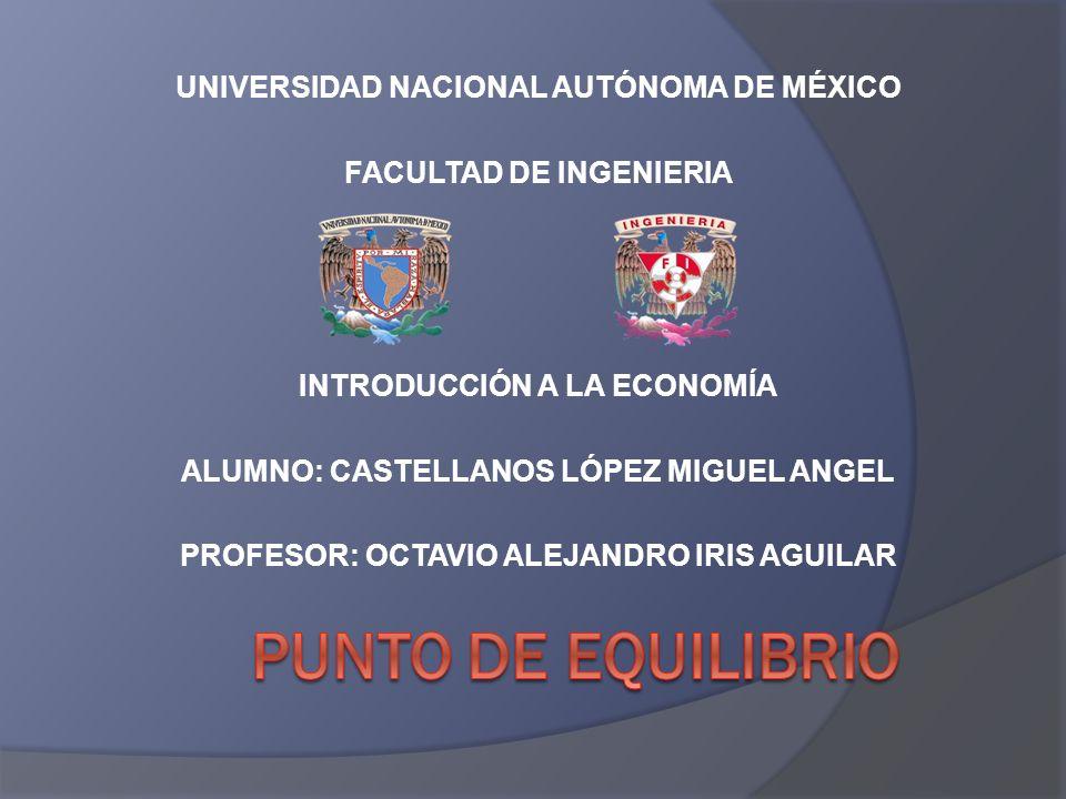 UNIVERSIDAD NACIONAL AUTÓNOMA DE MÉXICO FACULTAD DE INGENIERIA INTRODUCCIÓN A LA ECONOMÍA ALUMNO: CASTELLANOS LÓPEZ MIGUEL ANGEL PROFESOR: OCTAVIO ALE