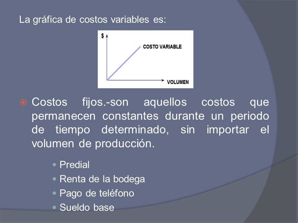 La gráfica de costos variables es: Costos fijos.-son aquellos costos que permanecen constantes durante un periodo de tiempo determinado, sin importar