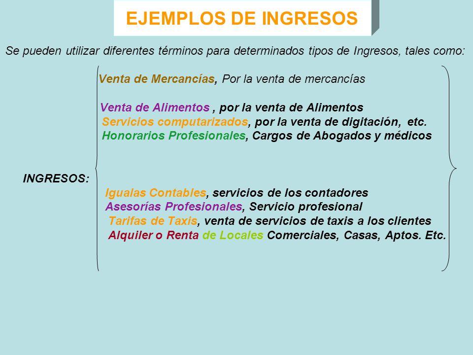 EJEMPLOS DE INGRESOS Se pueden utilizar diferentes términos para determinados tipos de Ingresos, tales como: Venta de Mercancías, Por la venta de merc