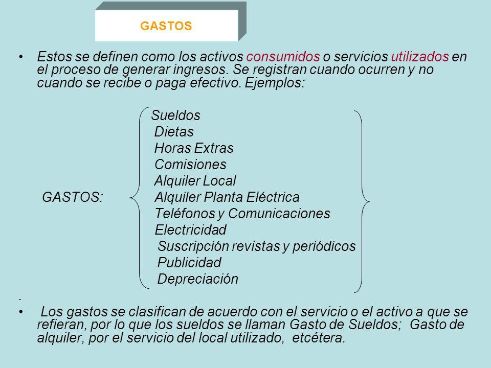 GASTOS Estos se definen como los activos consumidos o servicios utilizados en el proceso de generar ingresos. Se registran cuando ocurren y no cuando