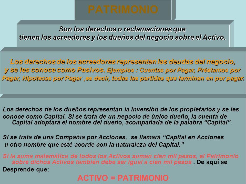 PATRIMONIO Los derechos de los dueños representan la inversión de los propietarios y se les conoce como Capital. Si se trata de un negocio de único du
