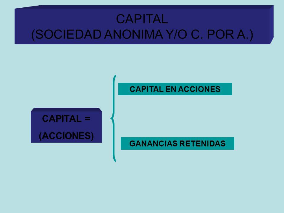CAPITAL EN LAS C. POR A. CAPITAL (SOCIEDAD ANONIMA Y/O C. POR A.) CAPITAL = (ACCIONES) CAPITAL EN ACCIONES GANANCIAS RETENIDAS