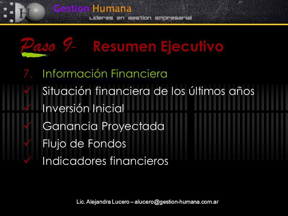 Lic. Alejandra Lucero – alucero@gestion-humana.com.ar Paso 9 - Resumen Ejecutivo 7.Información Financiera Situación financiera de los últimos años Inv