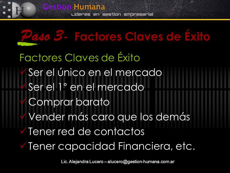 Lic. Alejandra Lucero – alucero@gestion-humana.com.ar Paso 3 - Factores Claves de Éxito Factores Claves de Éxito Ser el único en el mercado Ser el 1°
