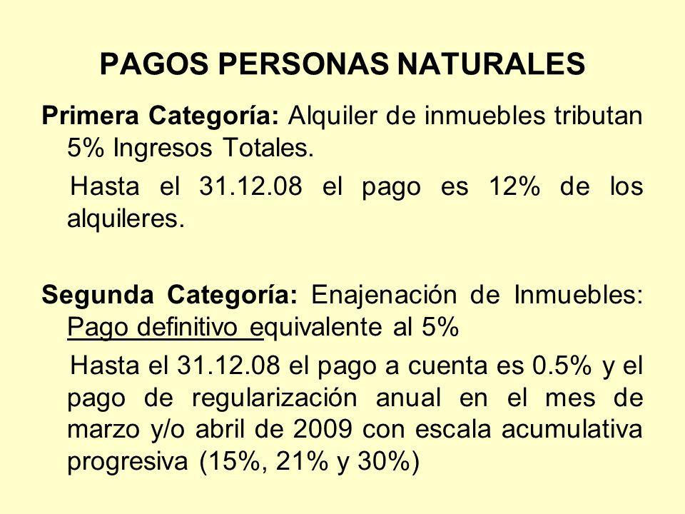 PAGOS PERSONAS NATURALES Primera Categoría: Alquiler de inmuebles tributan 5% Ingresos Totales. Hasta el 31.12.08 el pago es 12% de los alquileres. Se