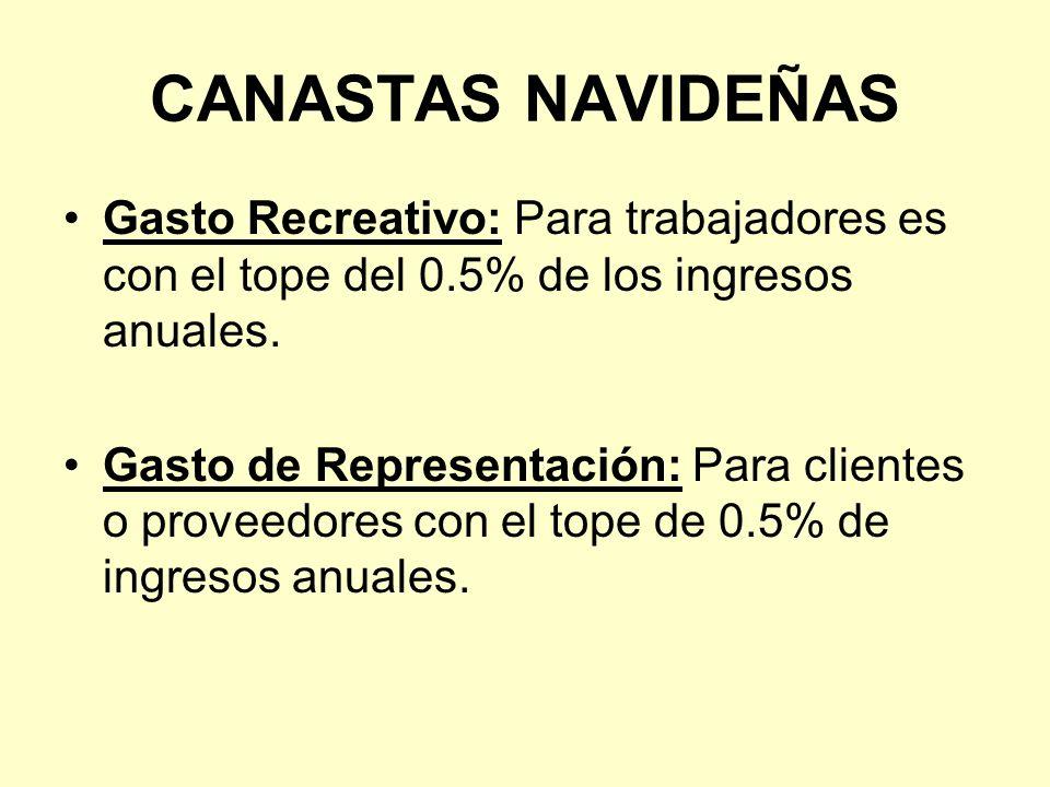 CANASTAS NAVIDEÑAS Gasto Recreativo: Para trabajadores es con el tope del 0.5% de los ingresos anuales. Gasto de Representación: Para clientes o prove