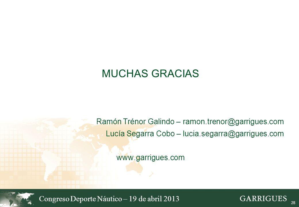 28 MUCHAS GRACIAS Ramón Trénor Galindo – ramon.trenor@garrigues.com Lucía Segarra Cobo – lucia.segarra@garrigues.com www.garrigues.com Congreso Deport