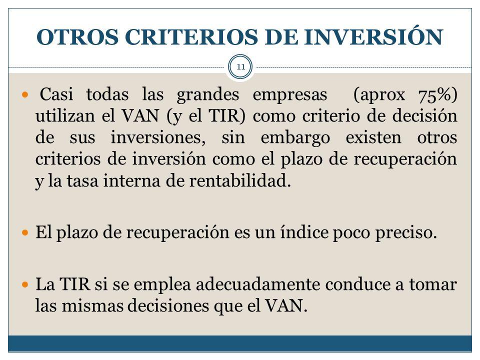OTROS CRITERIOS DE INVERSIÓN 11 Casi todas las grandes empresas (aprox 75%) utilizan el VAN (y el TIR) como criterio de decisión de sus inversiones, s