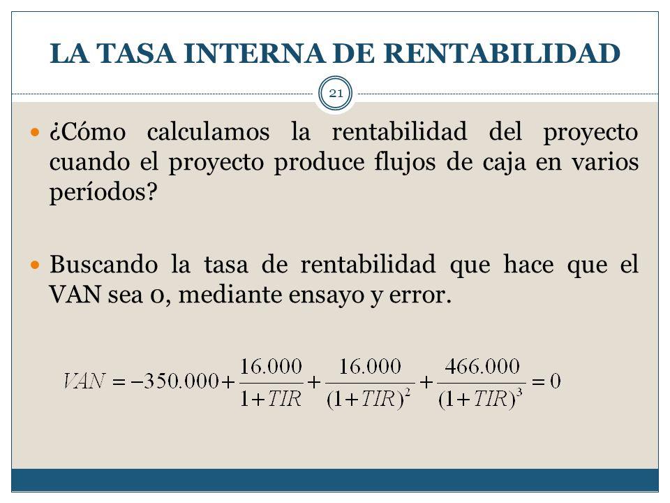 LA TASA INTERNA DE RENTABILIDAD 21 ¿Cómo calculamos la rentabilidad del proyecto cuando el proyecto produce flujos de caja en varios períodos? Buscand
