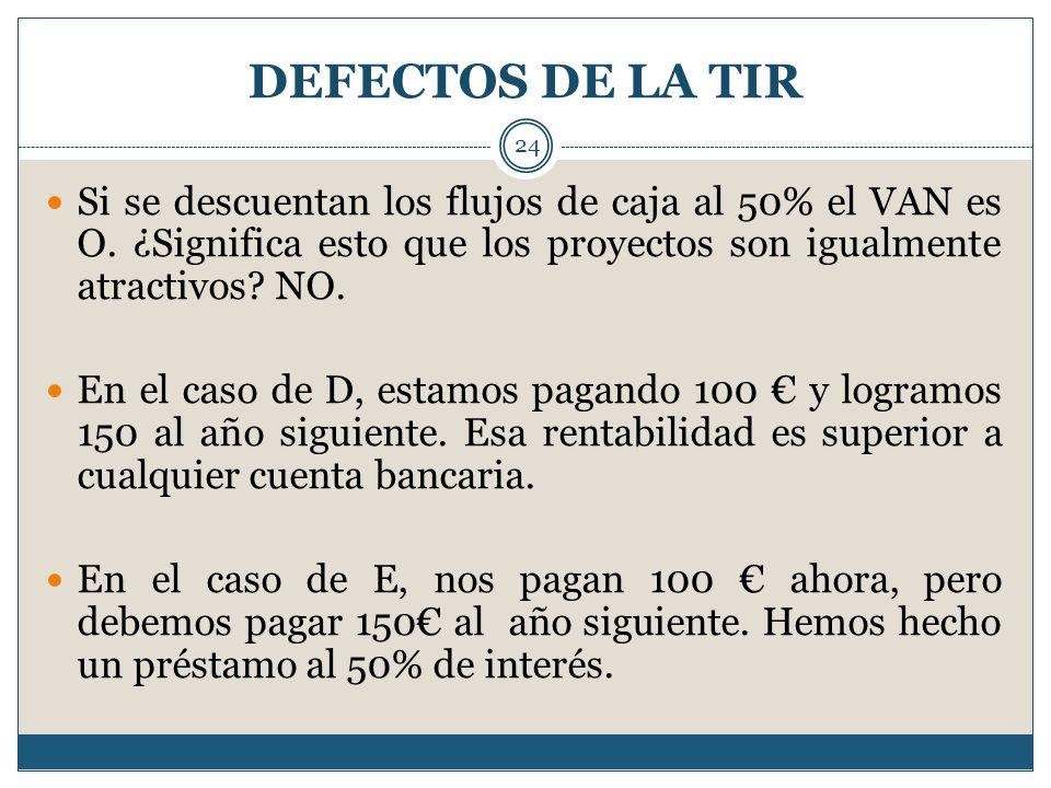 DEFECTOS DE LA TIR 24 Si se descuentan los flujos de caja al 50% el VAN es O. ¿Significa esto que los proyectos son igualmente atractivos? NO. En el c