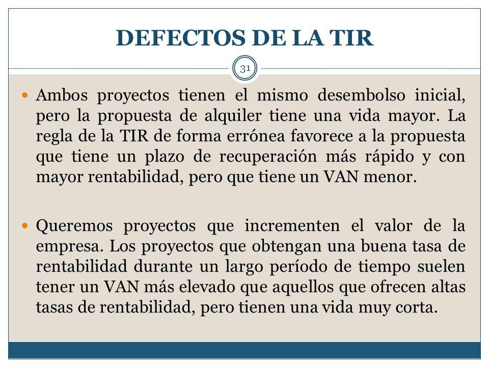 DEFECTOS DE LA TIR 31 Ambos proyectos tienen el mismo desembolso inicial, pero la propuesta de alquiler tiene una vida mayor. La regla de la TIR de fo