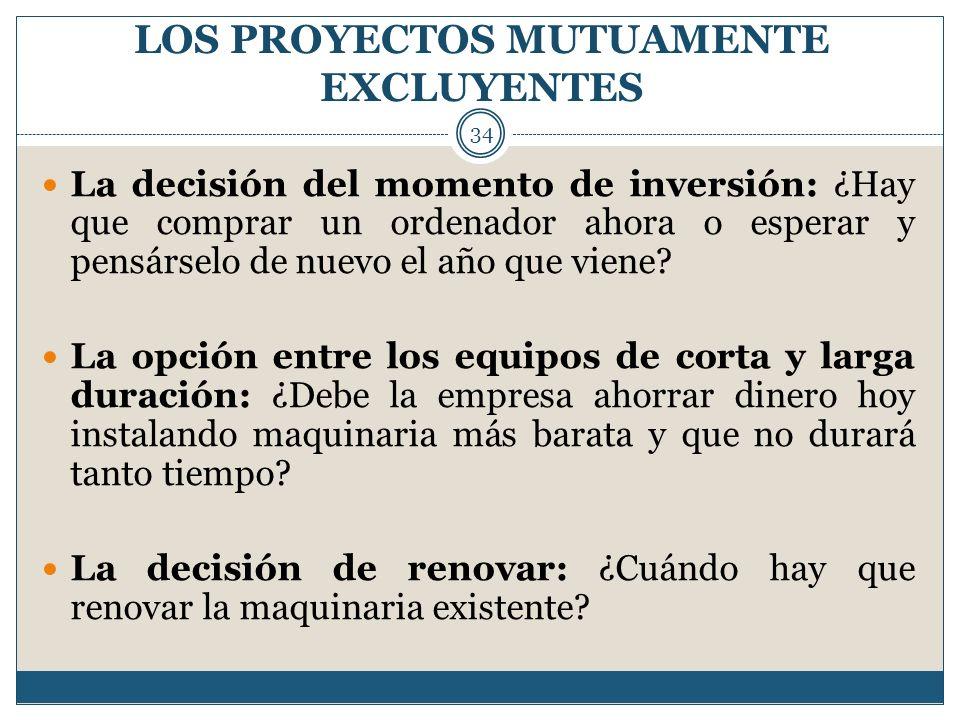 LOS PROYECTOS MUTUAMENTE EXCLUYENTES 34 La decisión del momento de inversión: ¿Hay que comprar un ordenador ahora o esperar y pensárselo de nuevo el a