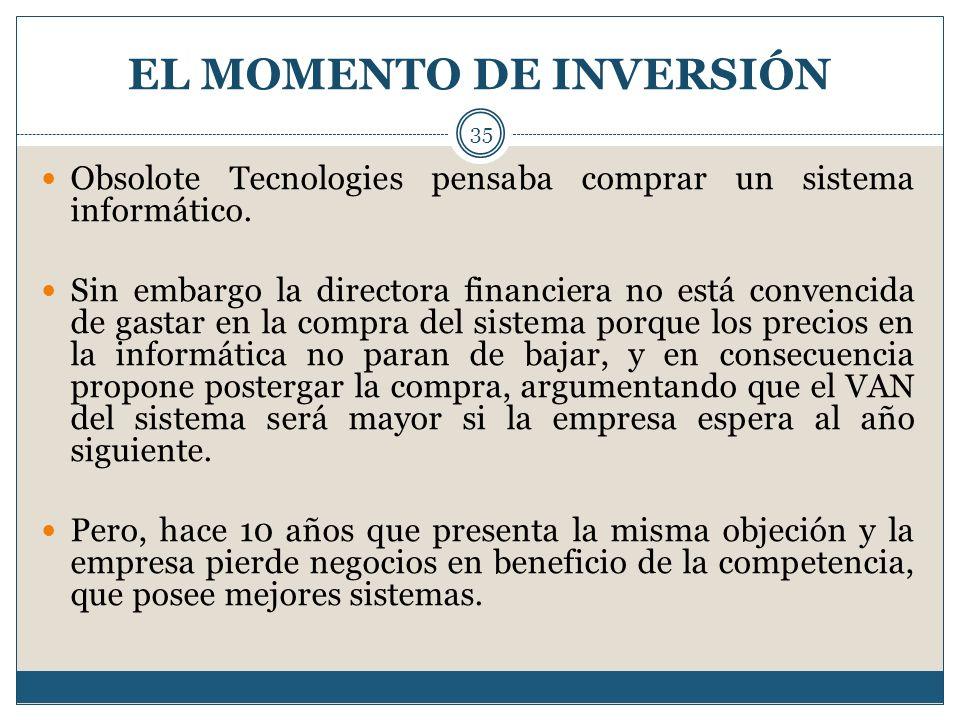 EL MOMENTO DE INVERSIÓN 35 Obsolote Tecnologies pensaba comprar un sistema informático. Sin embargo la directora financiera no está convencida de gast