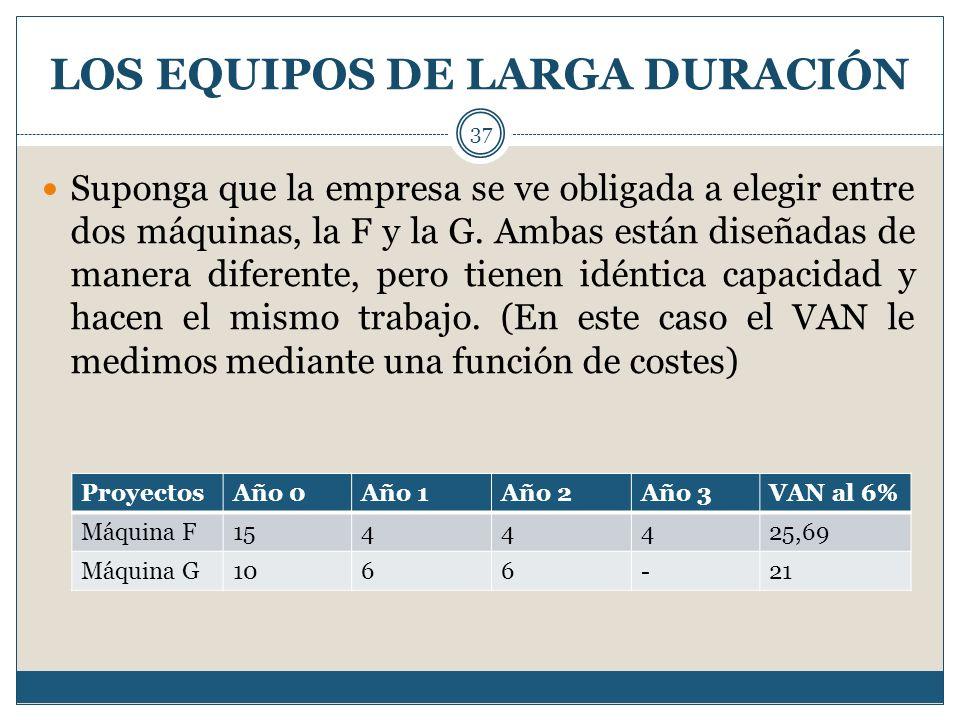 LOS EQUIPOS DE LARGA DURACIÓN 37 Suponga que la empresa se ve obligada a elegir entre dos máquinas, la F y la G. Ambas están diseñadas de manera difer
