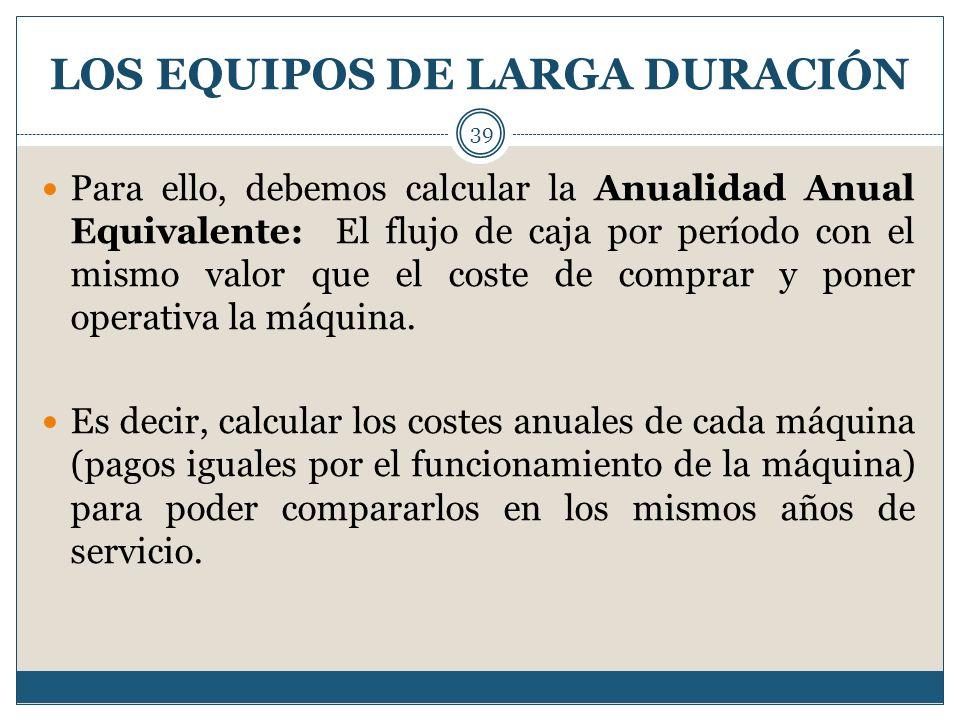 LOS EQUIPOS DE LARGA DURACIÓN 39 Para ello, debemos calcular la Anualidad Anual Equivalente: El flujo de caja por período con el mismo valor que el co