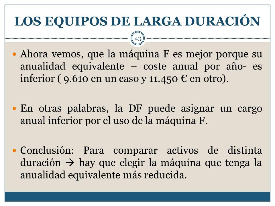 LOS EQUIPOS DE LARGA DURACIÓN 43 Ahora vemos, que la máquina F es mejor porque su anualidad equivalente – coste anual por año- es inferior ( 9.610 en