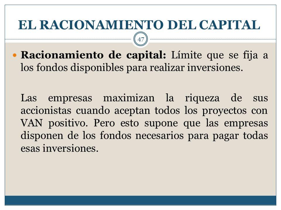 EL RACIONAMIENTO DEL CAPITAL 47 Racionamiento de capital: Límite que se fija a los fondos disponibles para realizar inversiones. Las empresas maximiza