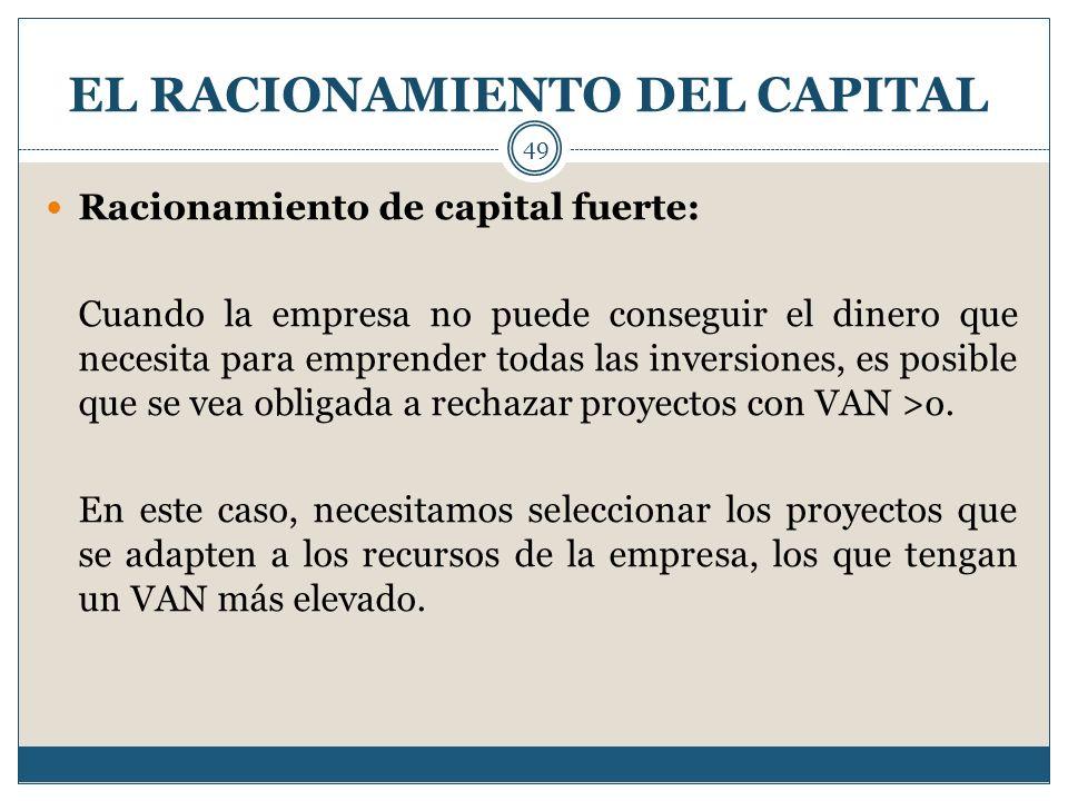 EL RACIONAMIENTO DEL CAPITAL 49 Racionamiento de capital fuerte: Cuando la empresa no puede conseguir el dinero que necesita para emprender todas las