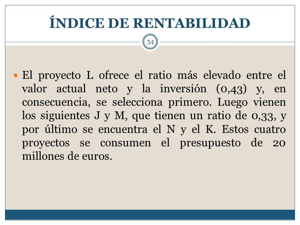 ÍNDICE DE RENTABILIDAD 54 El proyecto L ofrece el ratio más elevado entre el valor actual neto y la inversión (0,43) y, en consecuencia, se selecciona
