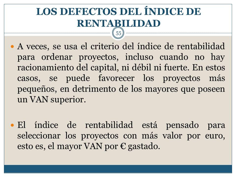 LOS DEFECTOS DEL ÍNDICE DE RENTABILIDAD 55 A veces, se usa el criterio del índice de rentabilidad para ordenar proyectos, incluso cuando no hay racion