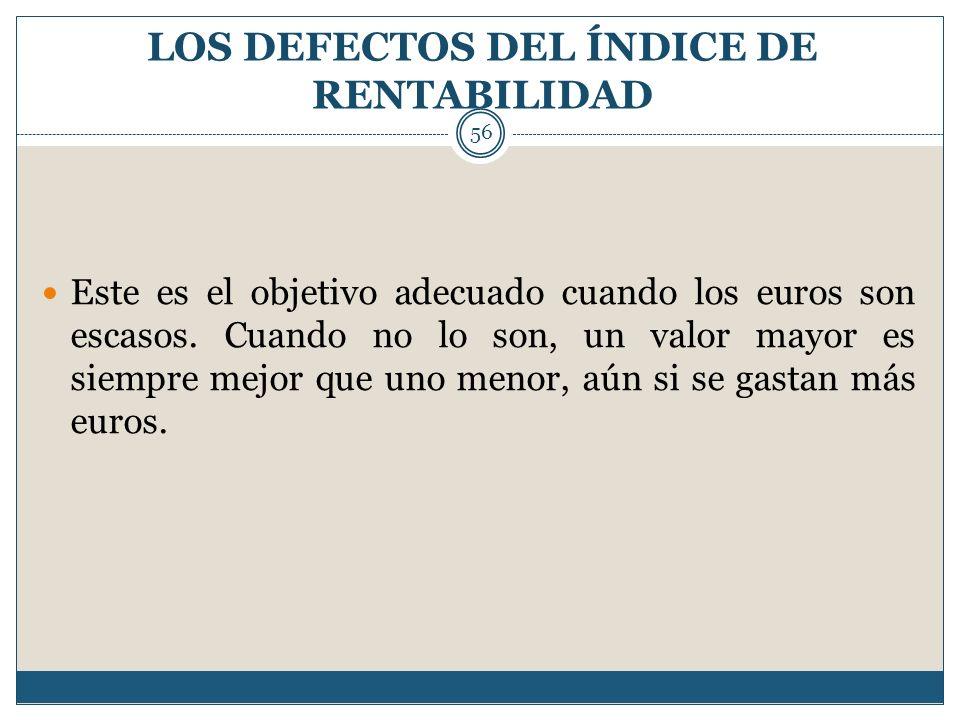 LOS DEFECTOS DEL ÍNDICE DE RENTABILIDAD 56 Este es el objetivo adecuado cuando los euros son escasos. Cuando no lo son, un valor mayor es siempre mejo
