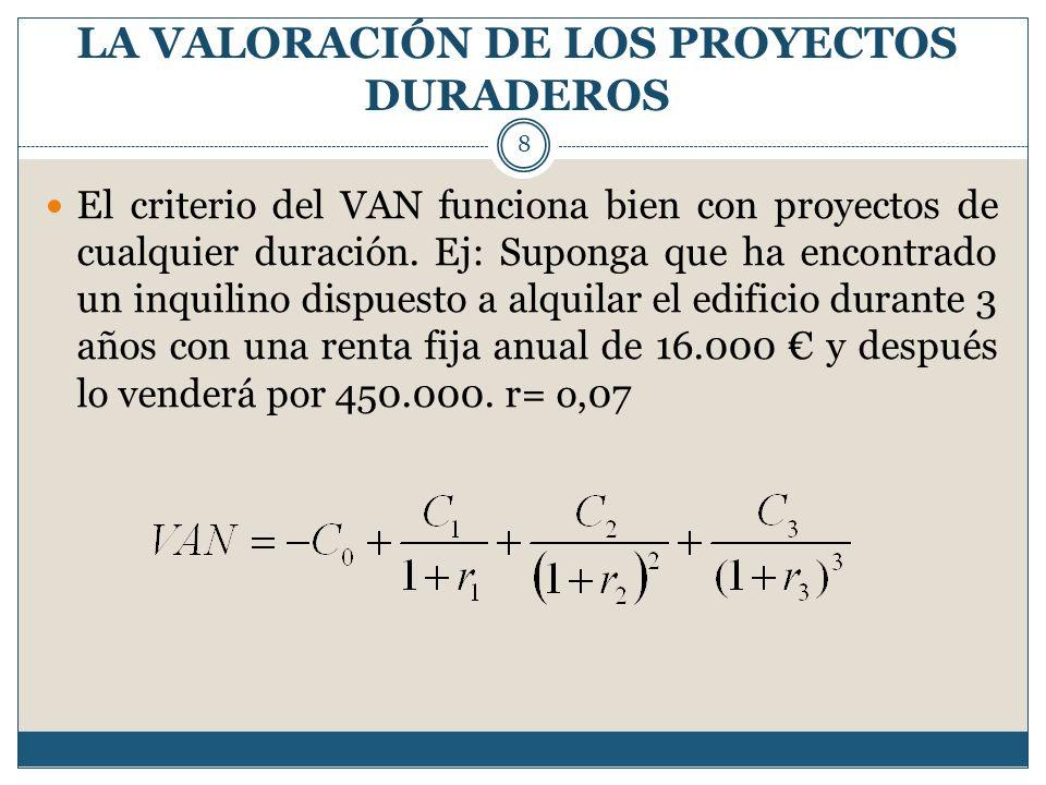 LA VALORACIÓN DE LOS PROYECTOS DURADEROS 8 El criterio del VAN funciona bien con proyectos de cualquier duración. Ej: Suponga que ha encontrado un inq