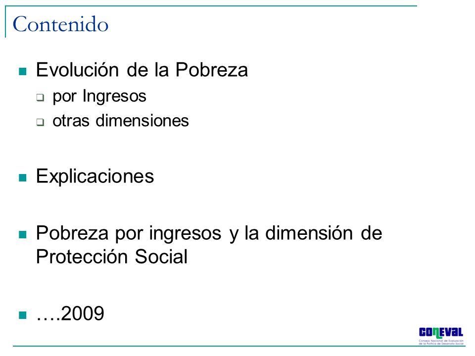 Contenido Evolución de la Pobreza por Ingresos otras dimensiones Explicaciones Pobreza por ingresos y la dimensión de Protección Social ….2009