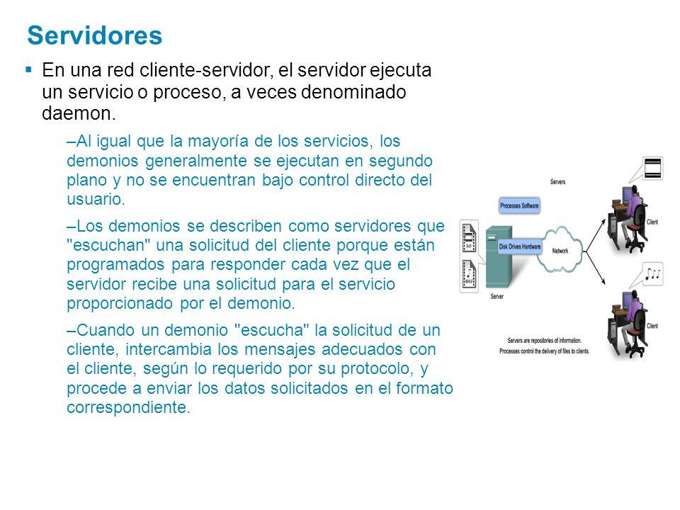 Servidores En una red cliente-servidor, el servidor ejecuta un servicio o proceso, a veces denominado daemon. –Al igual que la mayoría de los servicio