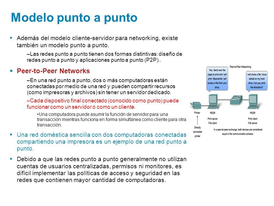 Modelo punto a punto Además del modelo cliente-servidor para networking, existe también un modelo punto a punto. –Las redes punto a punto tienen dos f