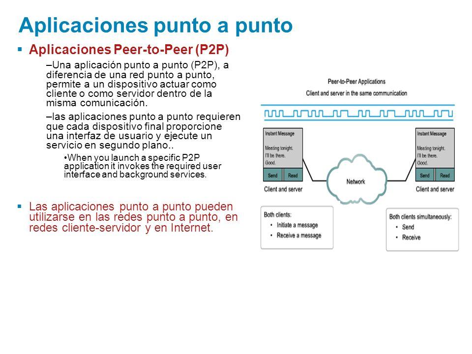 Aplicaciones punto a punto Aplicaciones Peer-to-Peer (P2P) –Una aplicación punto a punto (P2P), a diferencia de una red punto a punto, permite a un di