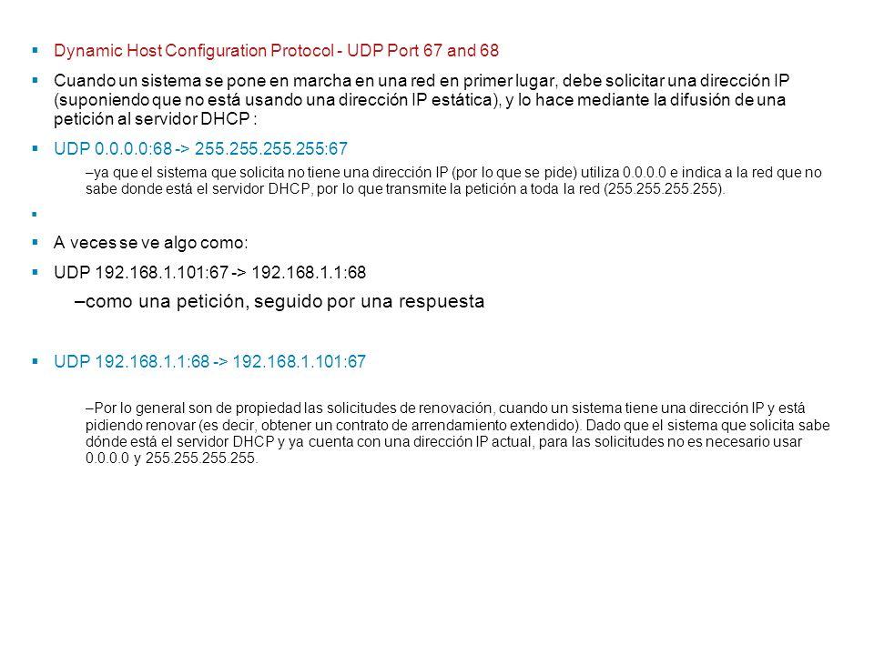 Dynamic Host Configuration Protocol - UDP Port 67 and 68 Cuando un sistema se pone en marcha en una red en primer lugar, debe solicitar una dirección