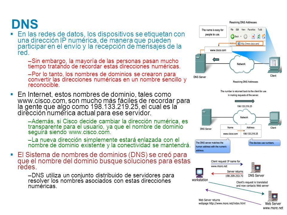 DNS En las redes de datos, los dispositivos se etiquetan con una dirección IP numérica, de manera que pueden participar en el envío y la recepción de