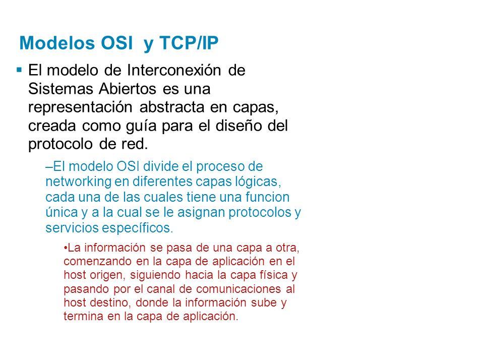 Modelos OSI y TCP/IP El modelo de Interconexión de Sistemas Abiertos es una representación abstracta en capas, creada como guía para el diseño del pro