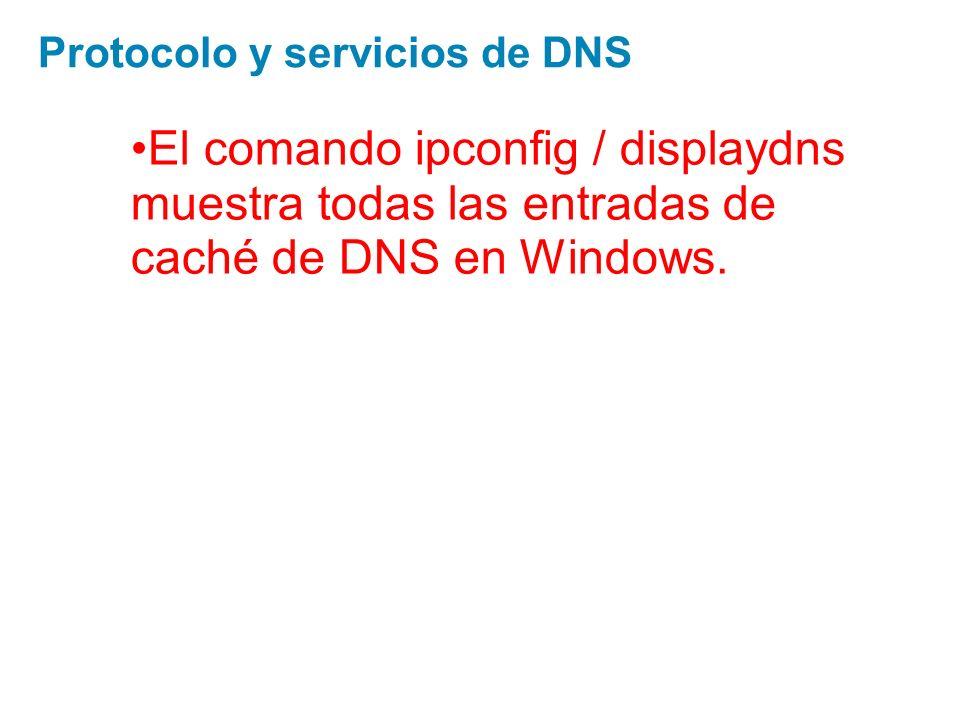 El comando ipconfig / displaydns muestra todas las entradas de caché de DNS en Windows. Protocolo y servicios de DNS