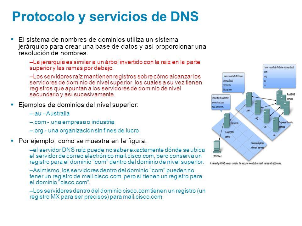 El sistema de nombres de dominios utiliza un sistema jerárquico para crear una base de datos y así proporcionar una resolución de nombres. –La jerarqu
