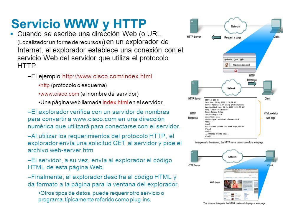 Servicio WWW y HTTP Cuando se escribe una dirección Web (o URL (Localizador uniforme de recursos) ) en un explorador de Internet, el explorador establ