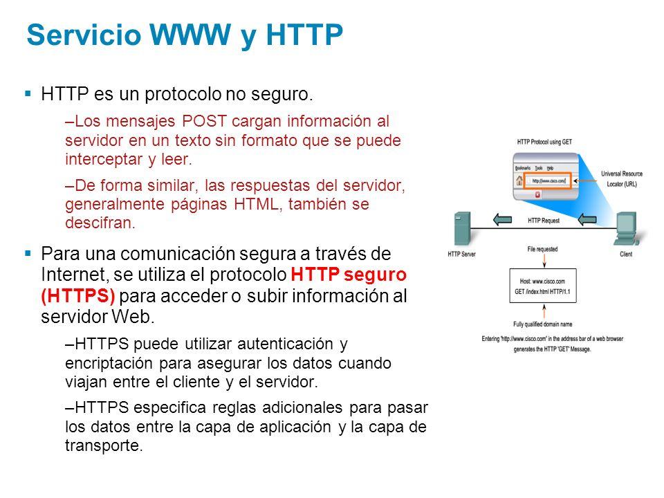 Servicio WWW y HTTP HTTP es un protocolo no seguro. –Los mensajes POST cargan información al servidor en un texto sin formato que se puede interceptar