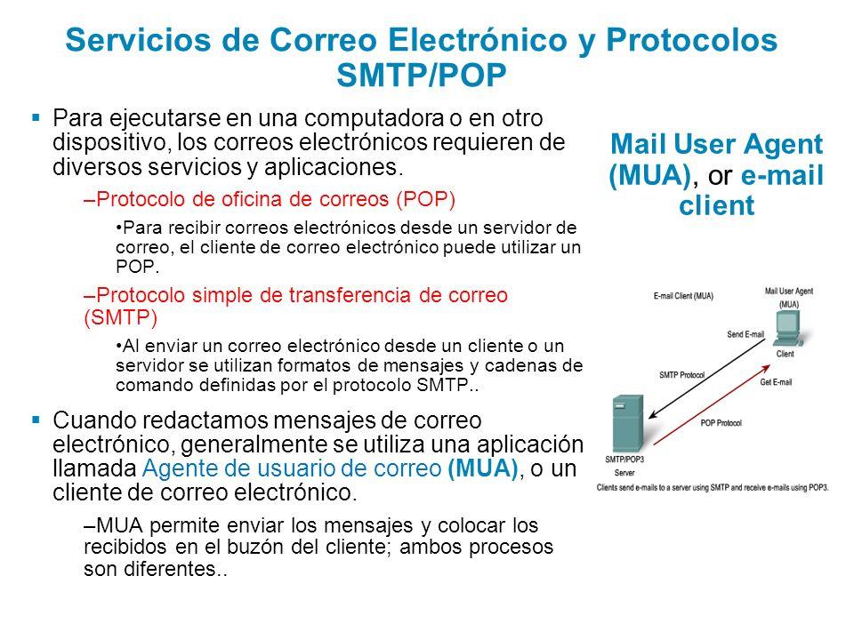 Servicios de Correo Electrónico y Protocolos SMTP/POP Para ejecutarse en una computadora o en otro dispositivo, los correos electrónicos requieren de