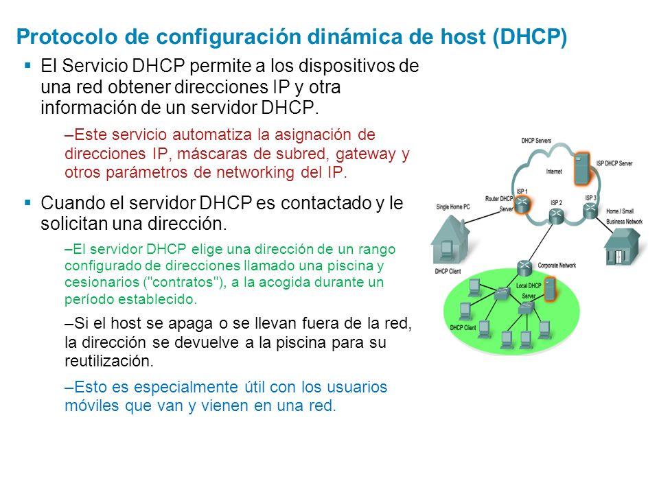 Protocolo de configuración dinámica de host (DHCP) El Servicio DHCP permite a los dispositivos de una red obtener direcciones IP y otra información de