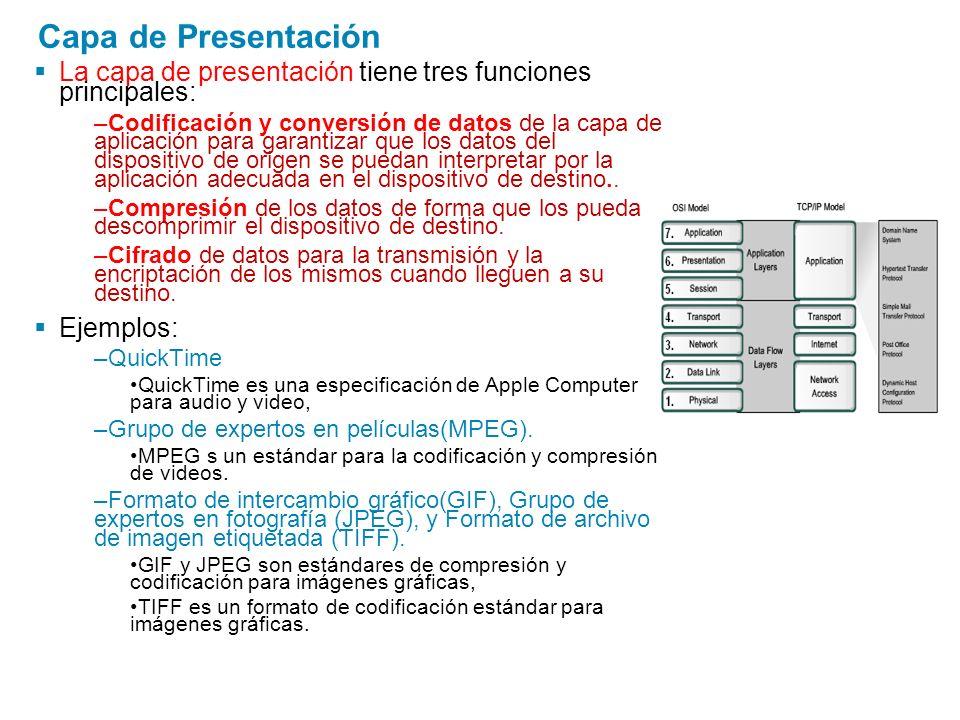 Capa de Presentación La capa de presentación tiene tres funciones principales: –Codificación y conversión de datos de la capa de aplicación para garan