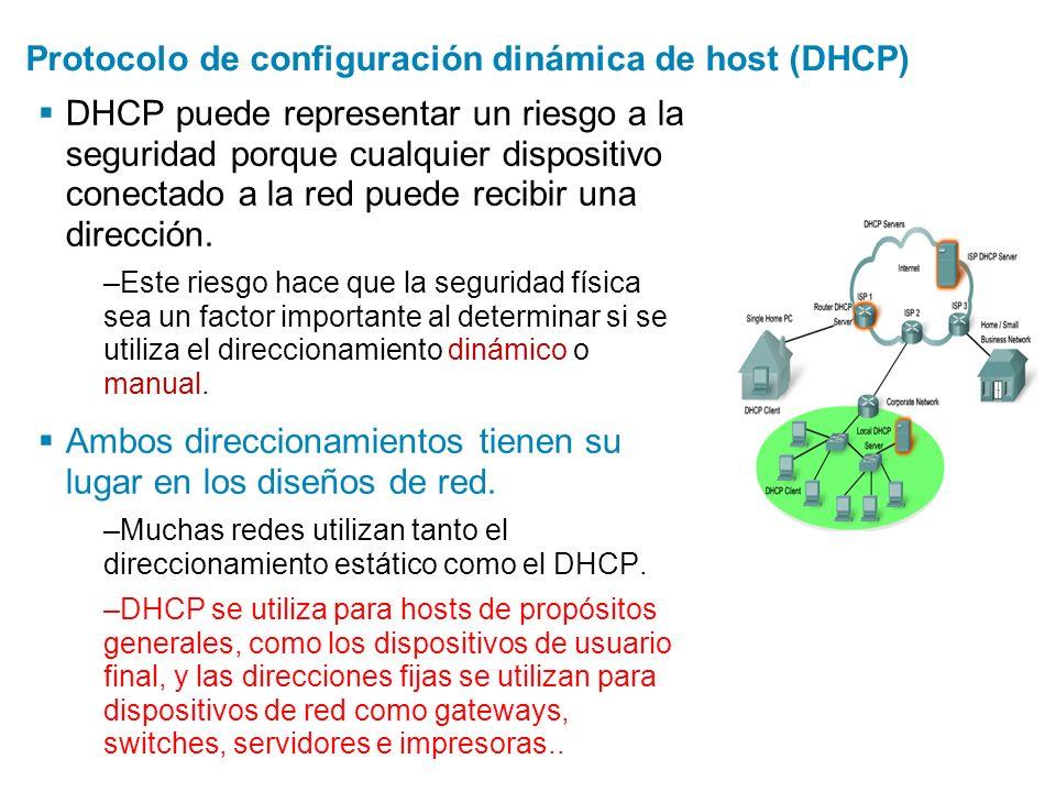 Protocolo de configuración dinámica de host (DHCP) DHCP puede representar un riesgo a la seguridad porque cualquier dispositivo conectado a la red pue