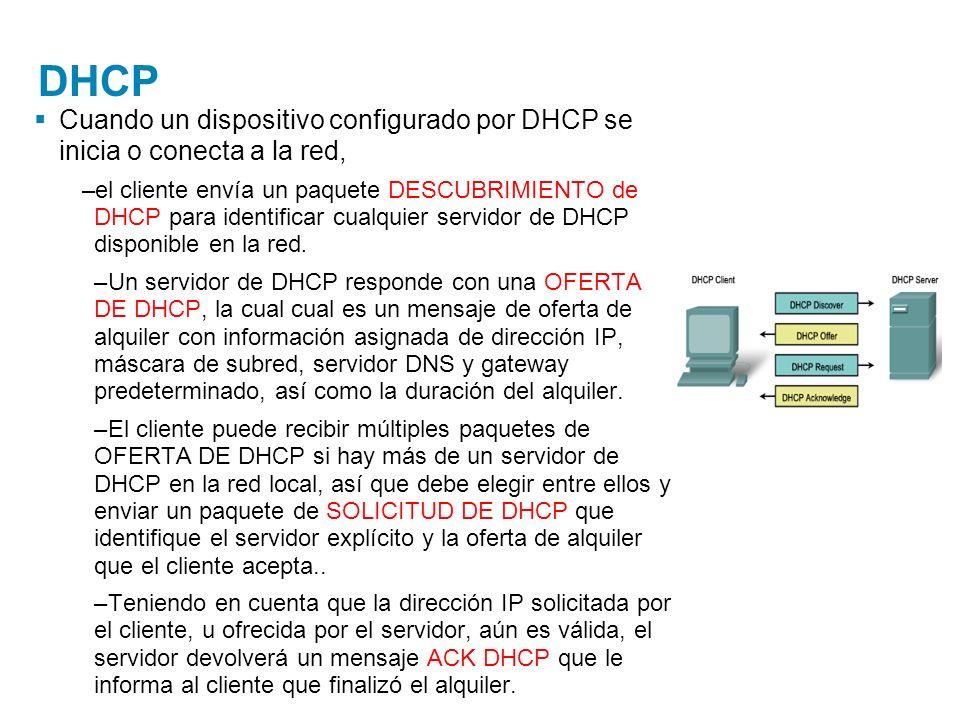 DHCP Cuando un dispositivo configurado por DHCP se inicia o conecta a la red, –el cliente envía un paquete DESCUBRIMIENTO de DHCP para identificar cua