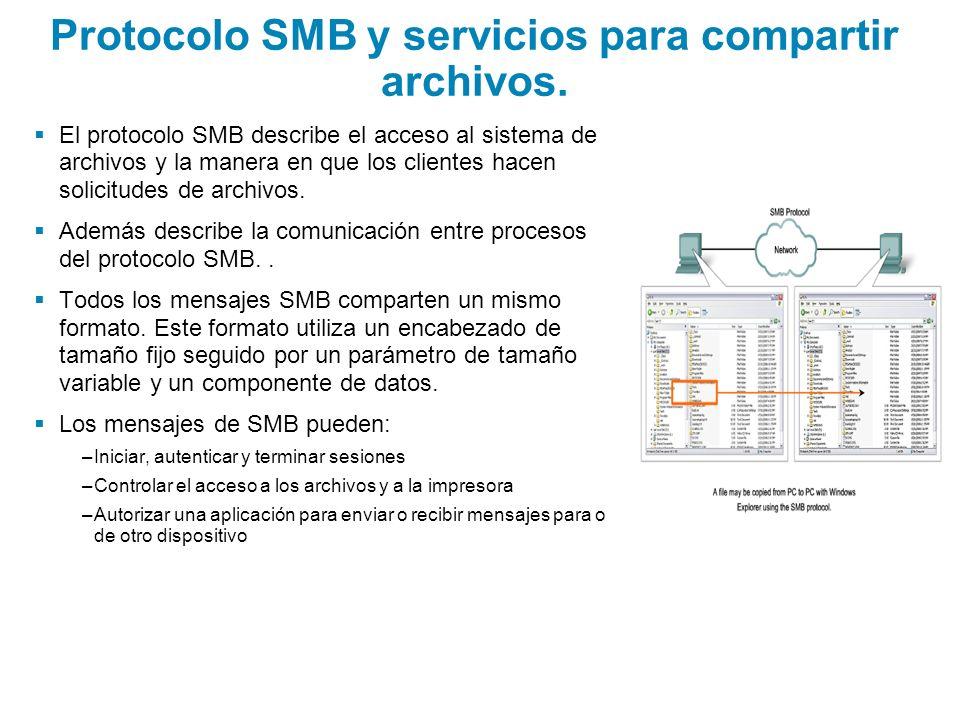 Protocolo SMB y servicios para compartir archivos. El protocolo SMB describe el acceso al sistema de archivos y la manera en que los clientes hacen so