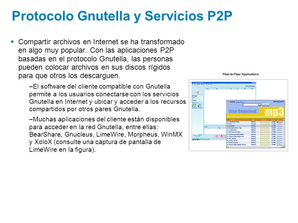 Protocolo Gnutella y Servicios P2P Compartir archivos en Internet se ha transformado en algo muy popular. Con las aplicaciones P2P basadas en el proto