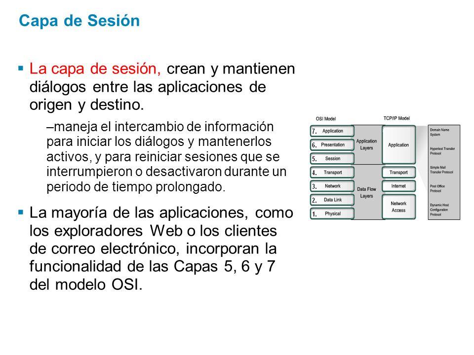 Capa de Sesión La capa de sesión, crean y mantienen diálogos entre las aplicaciones de origen y destino. –maneja el intercambio de información para in
