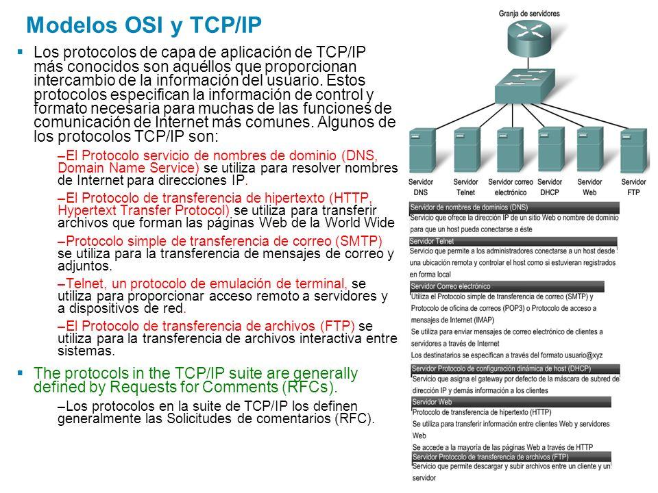 Modelos OSI y TCP/IP Los protocolos de capa de aplicación de TCP/IP más conocidos son aquéllos que proporcionan intercambio de la información del usua